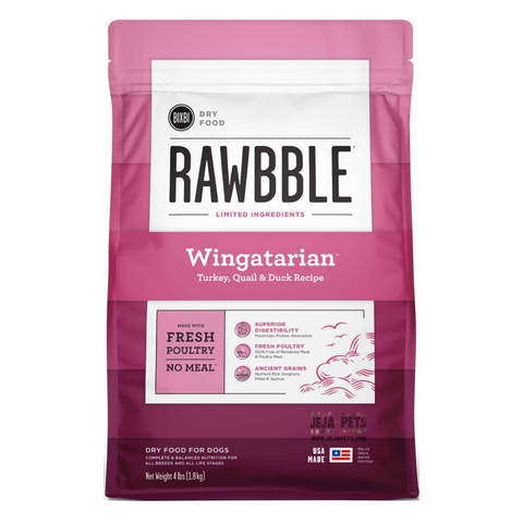 BIXBI Rawbble Wingatarian (Turkey, Quail & Duck) Dry Dog Food - 1.81kg / 10.88kg