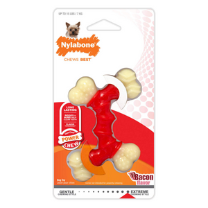 Nylabone Power Chew Double Bone Long Lasting Bacon Flavor Chew Toy for Dogs