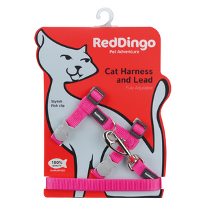 Red Dingo Cat Harness and Lead Combo Classic - (Hot Pink)