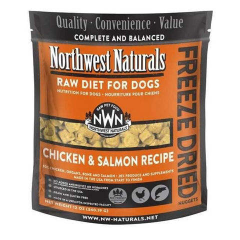 Northwest Naturals Raw Diet For Dogs (Chicken & Salmon) Freeze Dried Nuggets 12oz