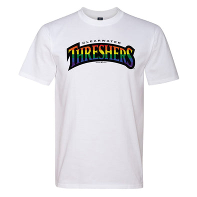 Clearwater Threshers White Ringspun Tee With Pride Logo