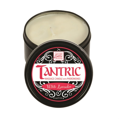 Tantric Soy Massage Candle With Pheromones White 4 Oz - Lavender - Exotic Room