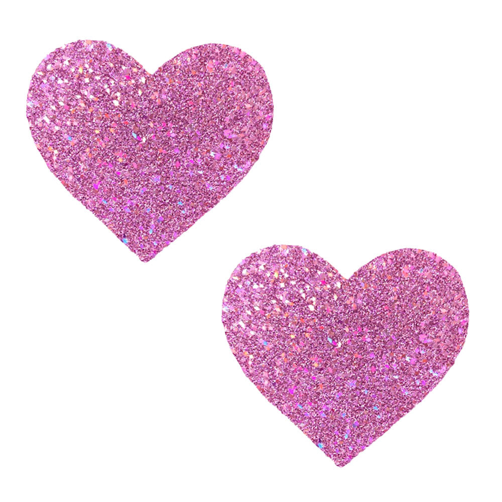 Pegasus Kisses Iridescent Pink Glitter I Heart U  Nipztix Pasties - Exotic Room