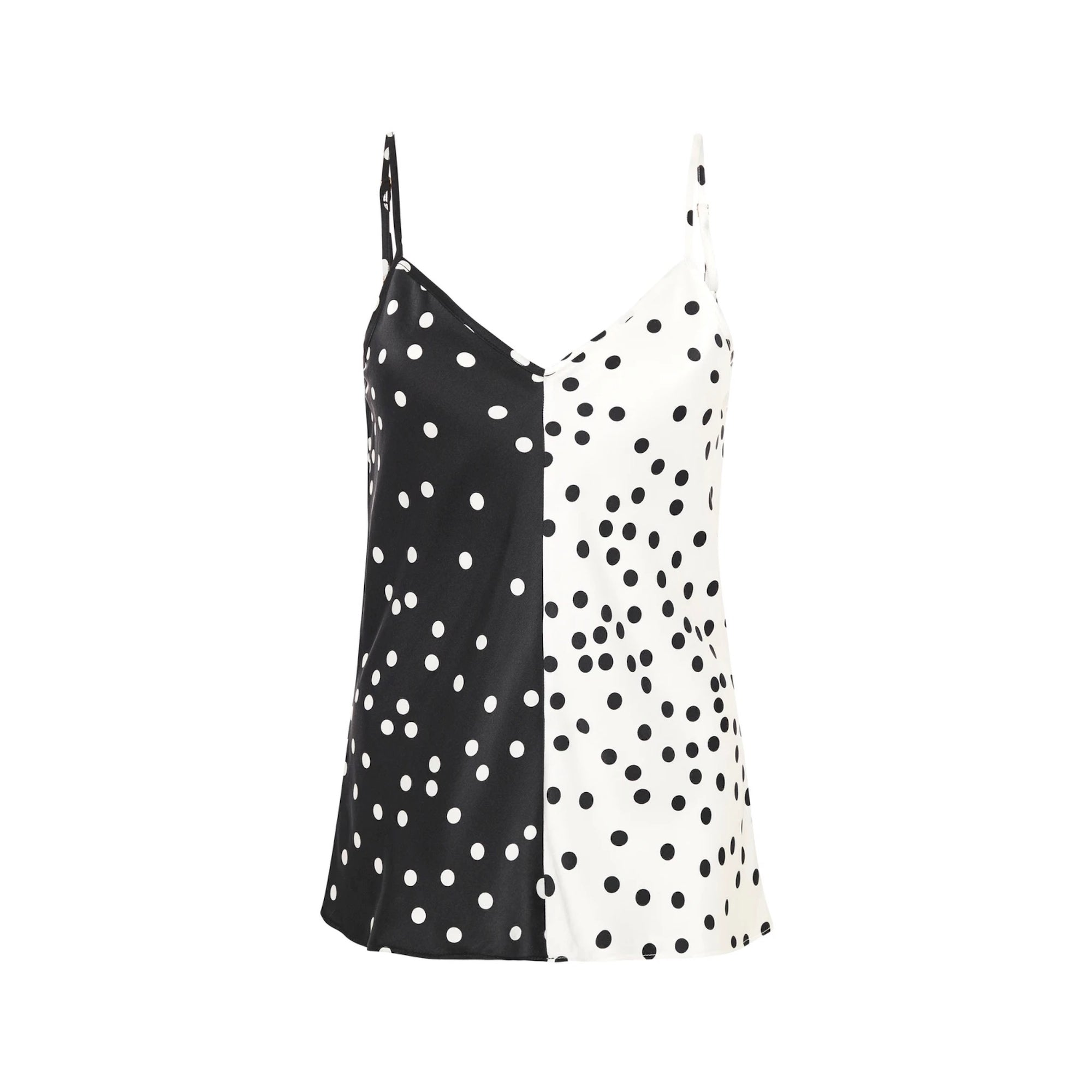 Silk Laundry Two Tone Cami - Broken Dot