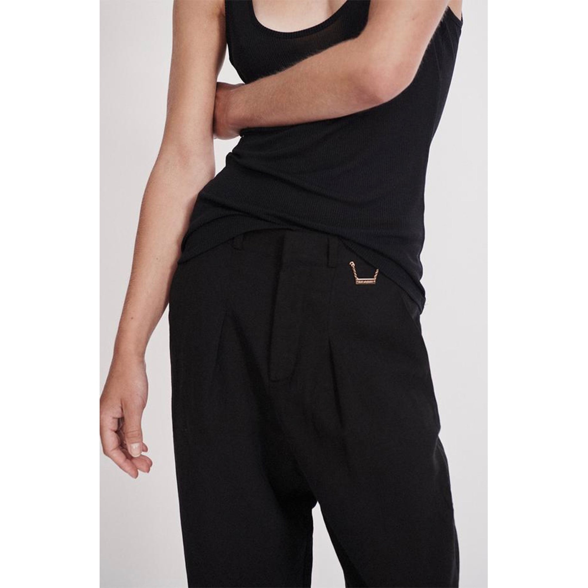 SILK-LINEN TROUSER BLACK