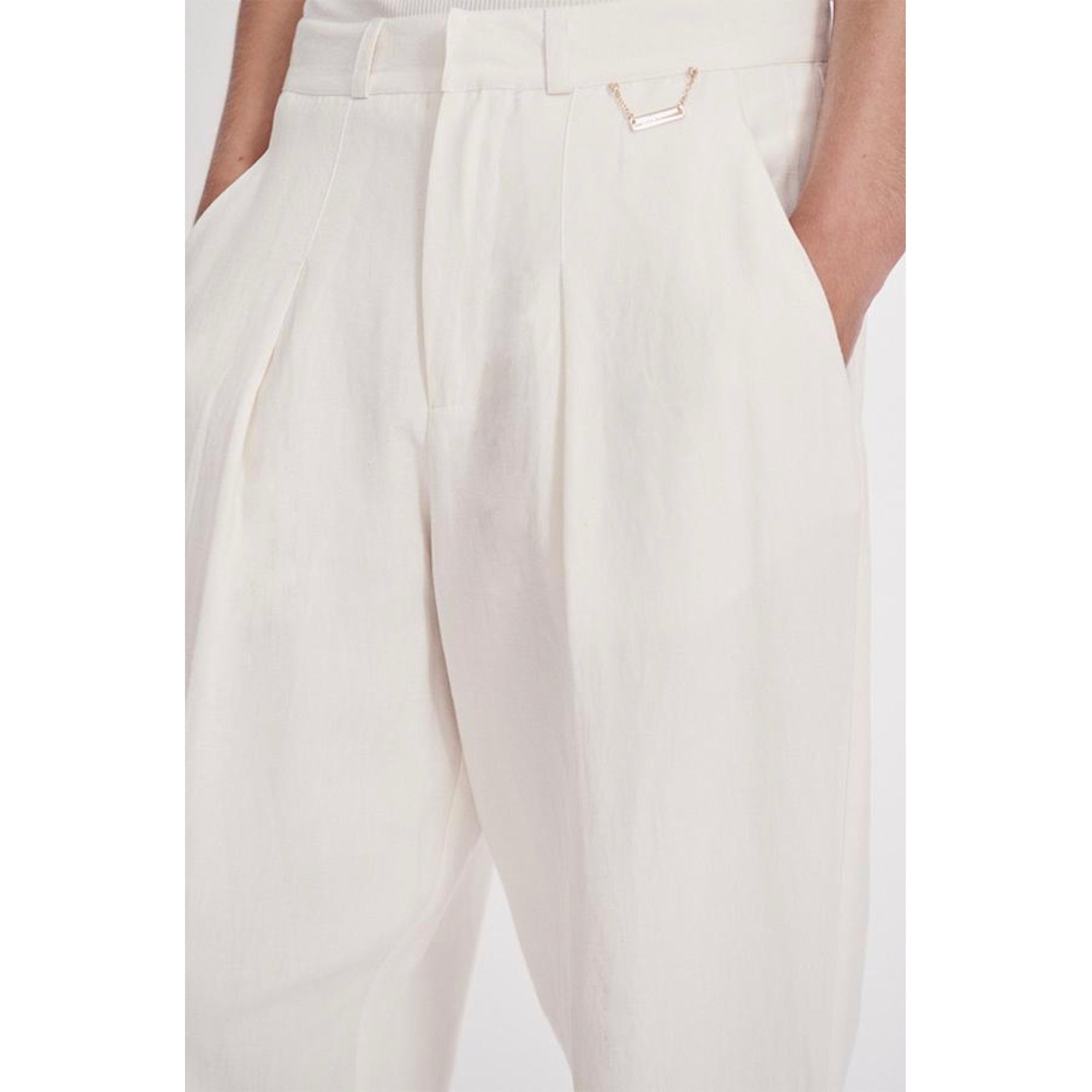Silk Laundry Silk- Linen Trouser White