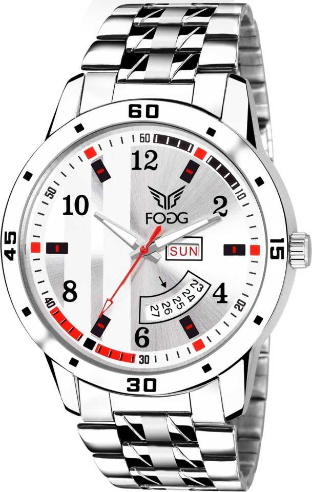 Printed White Day and Date Analog Watch - For Men DY-52
