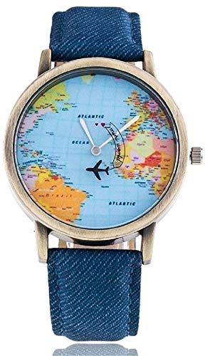 Blue Leather Plane World Map Analogue Blue Dial Unisex & Men's Watch (# Popular World Map Analogue Blue Dial #)-DY134