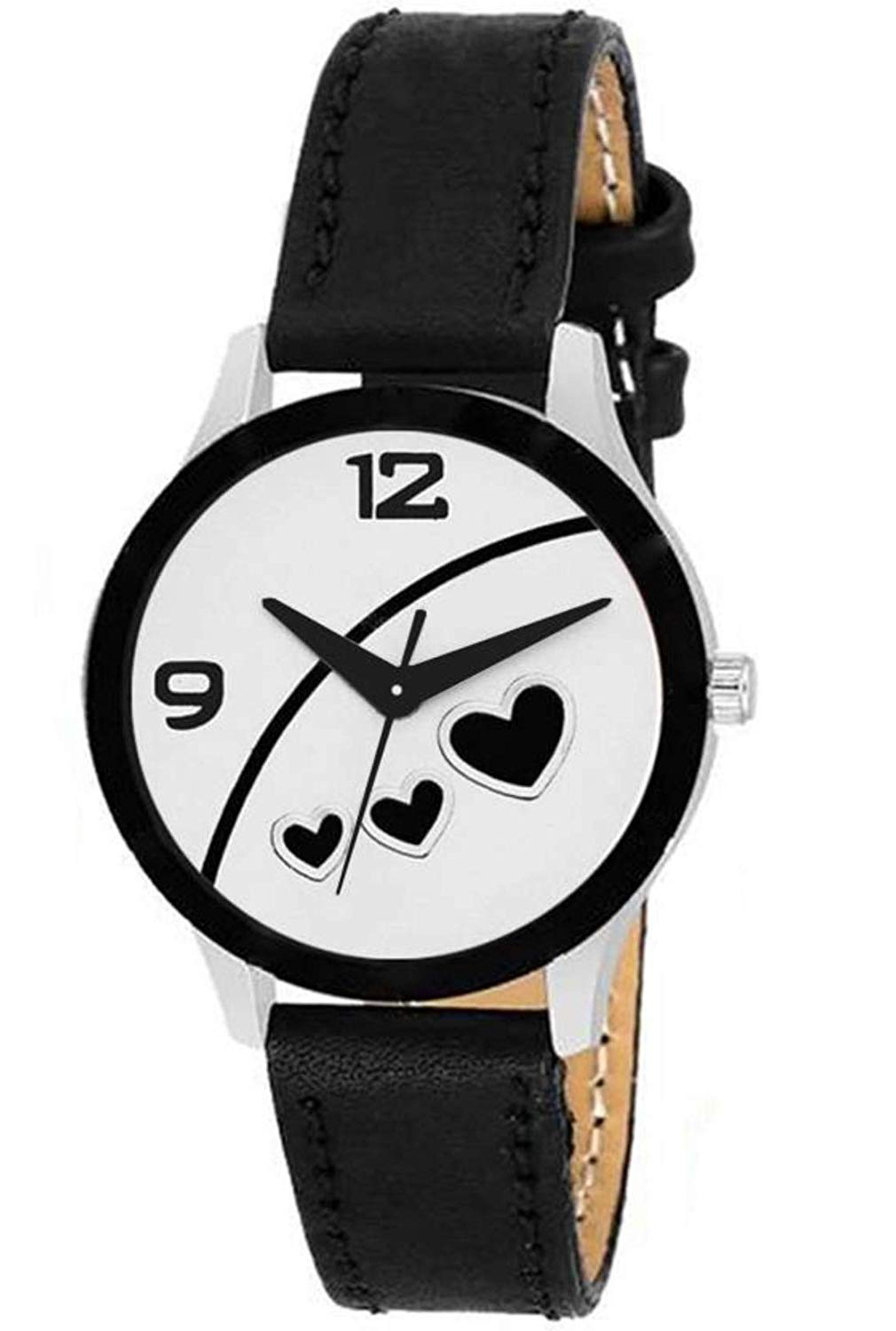 DealYEP Stylish Black Color Leather Strap Analog Luxury Fashion Watch for Women & Girls (Black Heart) Fashion Luxury Watch Series Watch - for Girls DY98