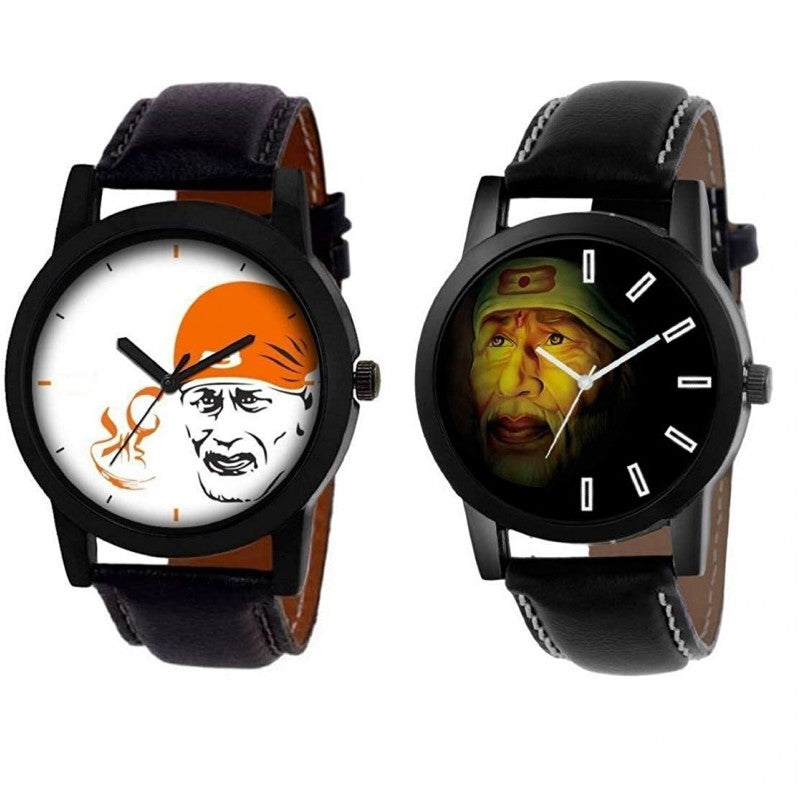 Lord Sai Baba Analogue Black Dial Leather Strap Men's Watch DY14