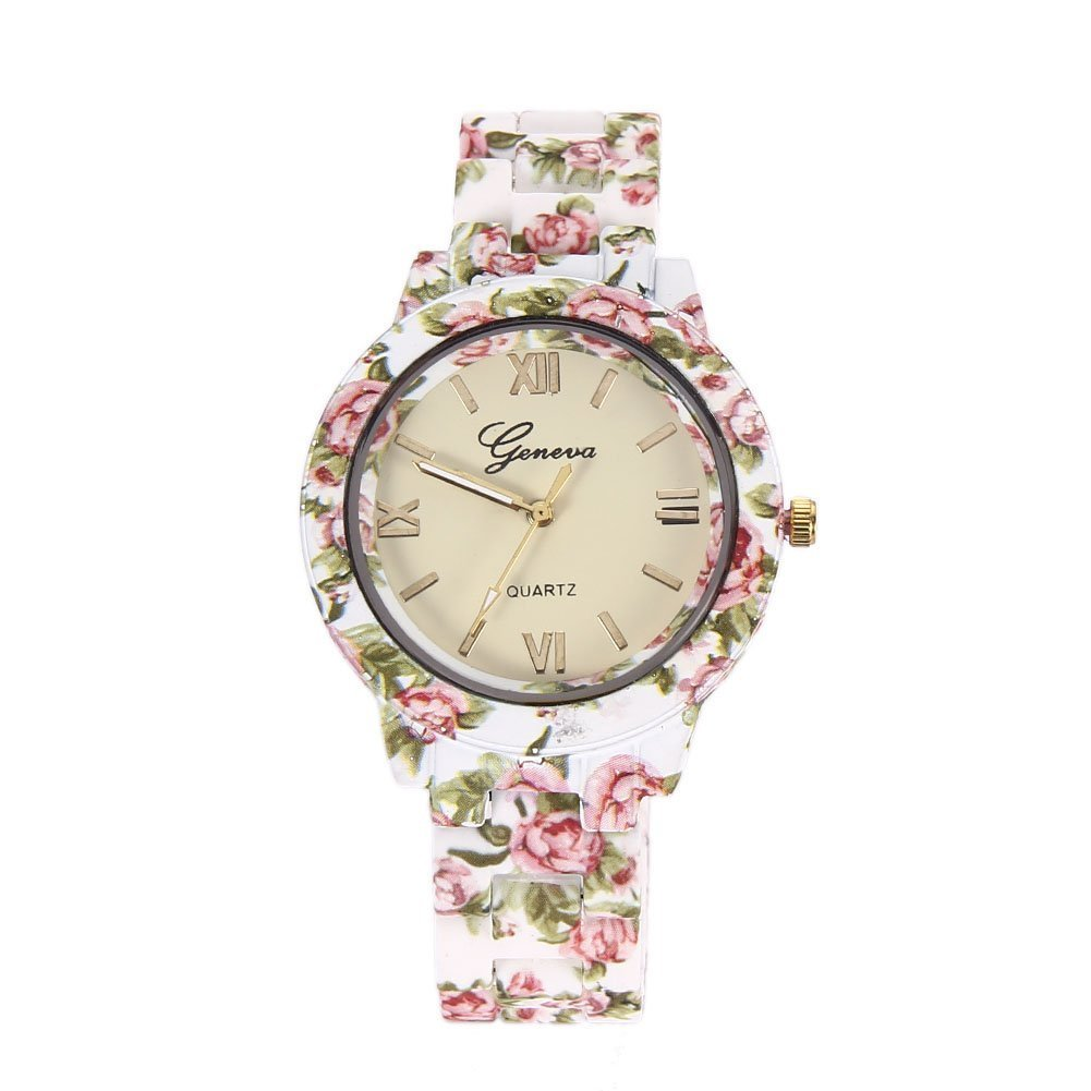 DealYEP Analogue White Dial Geneva Flower Print Women's Watch DY93