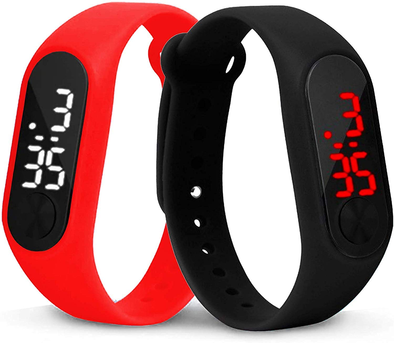 Red & Black Slim Digital Led Bracelet Band Watch for Boys and Girls Combo Set of 2-DY64