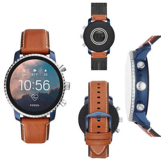 Fossil 4th Gen Explorist HR Smartwatch  (Brown Strap Regular) DY114