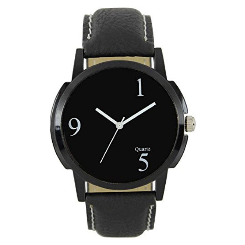 DealYEP Leather Strap Round Analog Black Dial Men's & Boy's Watch DY11