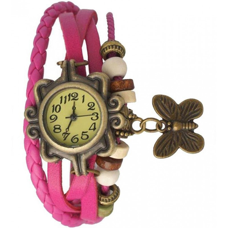 DealYEP Pink Bracelet Analog Watch for Women & Girls DY97