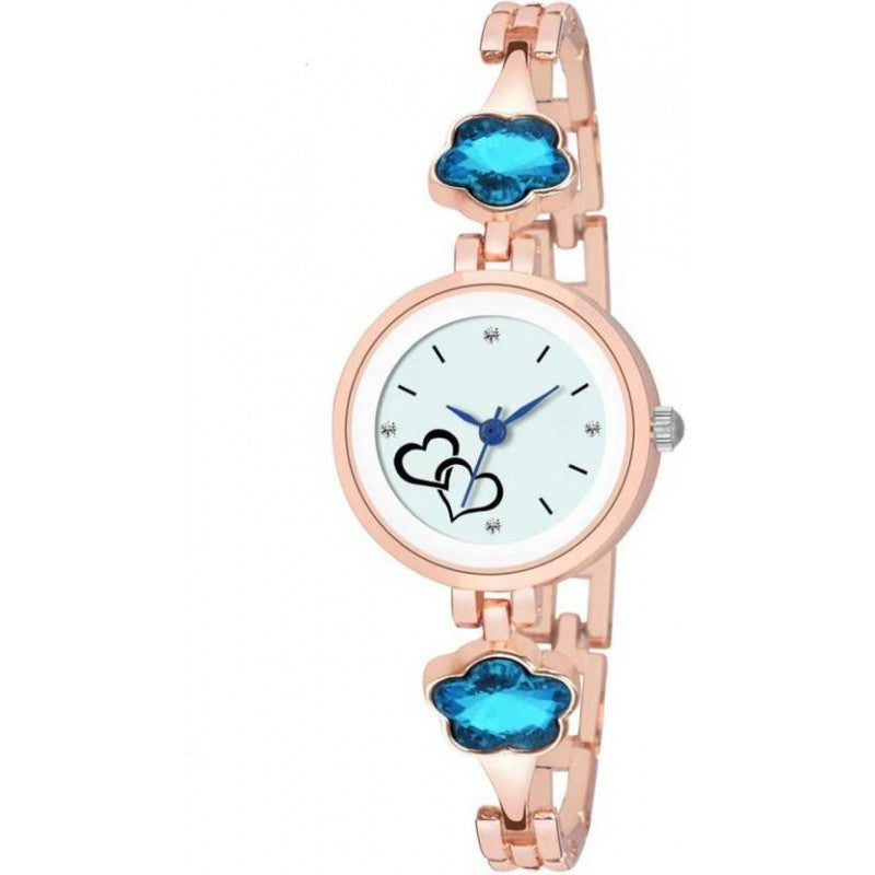 DealYEP Rose Gold Metal Strap SKY Stone~Studed Strap Women And Girls Watch - For Girls DY69