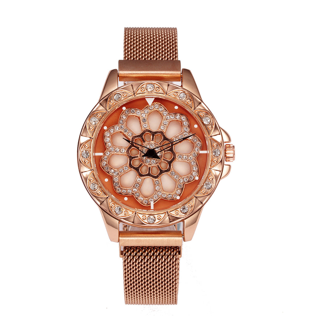 Time Running Watches 360 Degree Rotating Dial Stainless Steel Magnetic Wrist Watches for Women-DY139