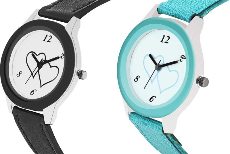 Sky Blue and black Leather Watches Analog Watch - For Women DY108