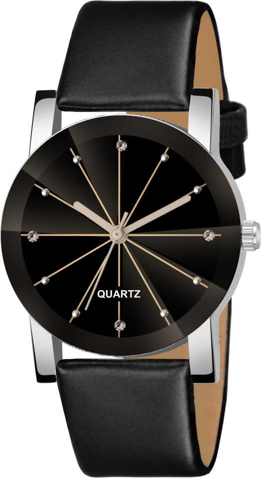 DealYEP Black Dial Prism Glass Black Leather Strap Analog Watch - For Girls DY90