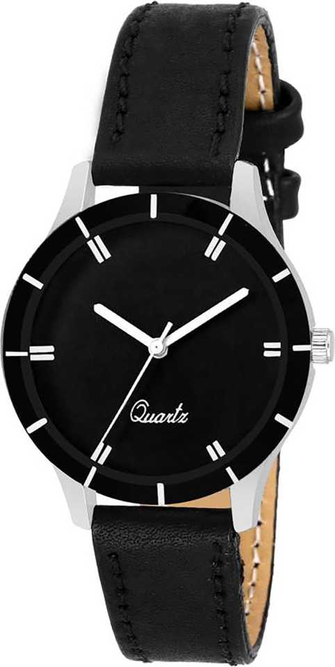 DealYEP Black Analogue Black Dial Leather Strap Analog Watch - For Girls DY-81