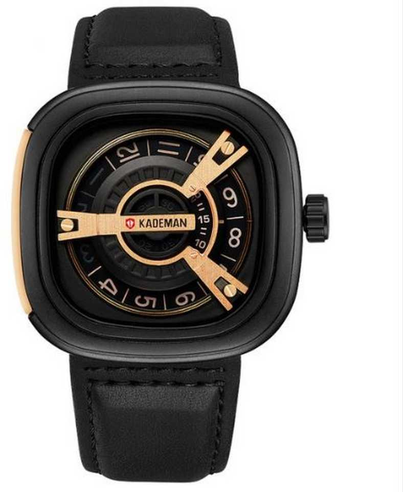 Black Unique Display Tonneau Dial Leather Analog Hybrid Smartwatch Watch - For Men DY65