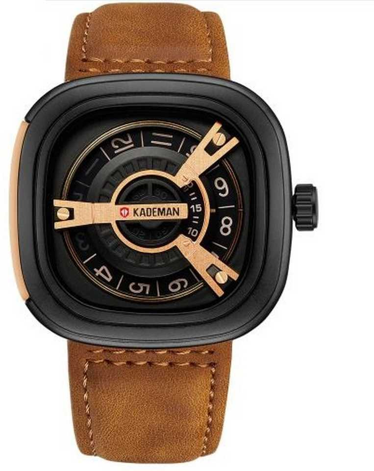 Black Unique Display Tonneau Dial Leather Analog Hybrid Smartwatch- For Men DY66