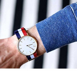 American Style Splendour Blue/Red/White Fabric Strap Fashion Wrist Analog Watch - For Boys & Girls DY106