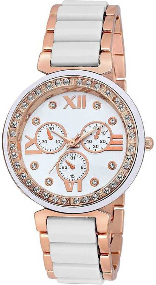 White Gold Diamond Frame Analog Watch - For Girls DY135