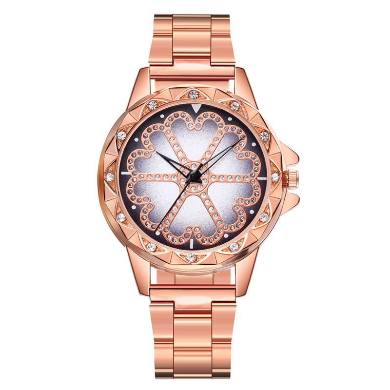 Personality The Every His Day Ms Alloy Steel Band Watch Luxurious Set Drill Table Rose Gold Female Form DY121