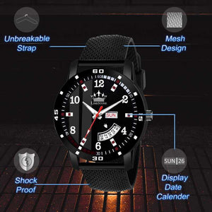 Black Mesh Strap Day and Date Functioning Quartz Analog Watch - For Men DY56