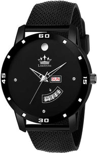 Black Mesh Strap Day and Date Functioning Quartz Analog Watch - For Men DY47