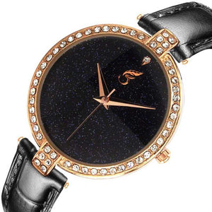 SHININGDIAL Attractive and Fancy Analogue Quartz Movement Diamond Studded Black Dial Royal Watch Specially for Teenager Girls & Women Analog Watch - For Women DY111
