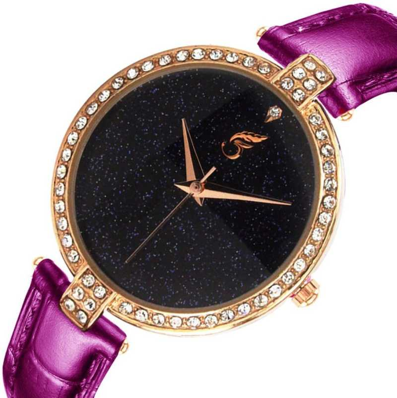 SHININGDIAL Attractive and Fancy Analogue Quartz Movement Diamond Studded Black Dial Royal Watch Specially for Teenager Girls & Women Analog Watch - For Women DY109