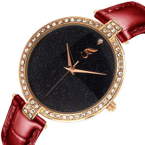 SHININGDIAL Attractive and Fancy Analogue Quartz Movement Diamond Studded Black Dial Royal Watch Specially for Teenager Girls & Women Analog Watch - For Women DY110