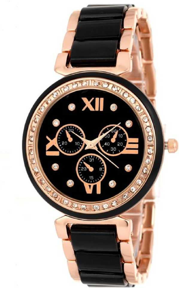 Black Diamond Designer Dial Mina Metal Strap stylish Girls Wrist Watch For Women Analog Watch - For Women DY136