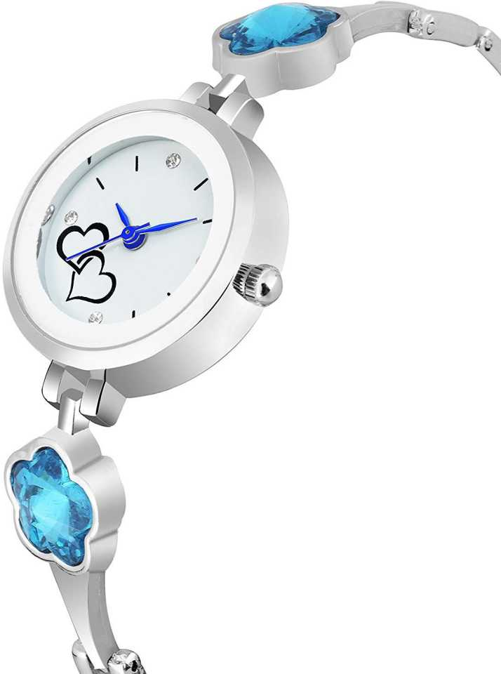 DealYEP Analogue White Heart Dial Metal Strap Analog Watch - For Girls DY70