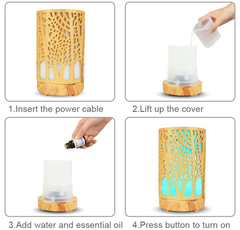 Bamboo Ultrasonic Forest Essential Oil Diffuser