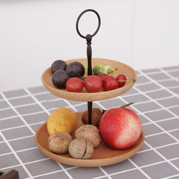 Wooden Two Tier Fruit Plate - Multi Layer Fruit Plate