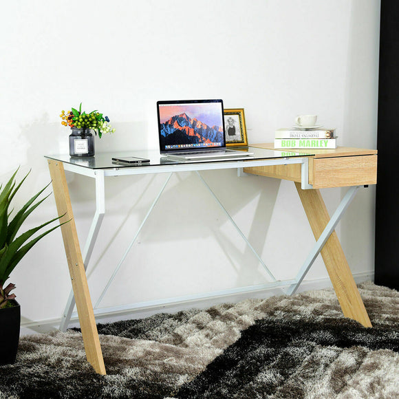Glass Wooden Computer Desk