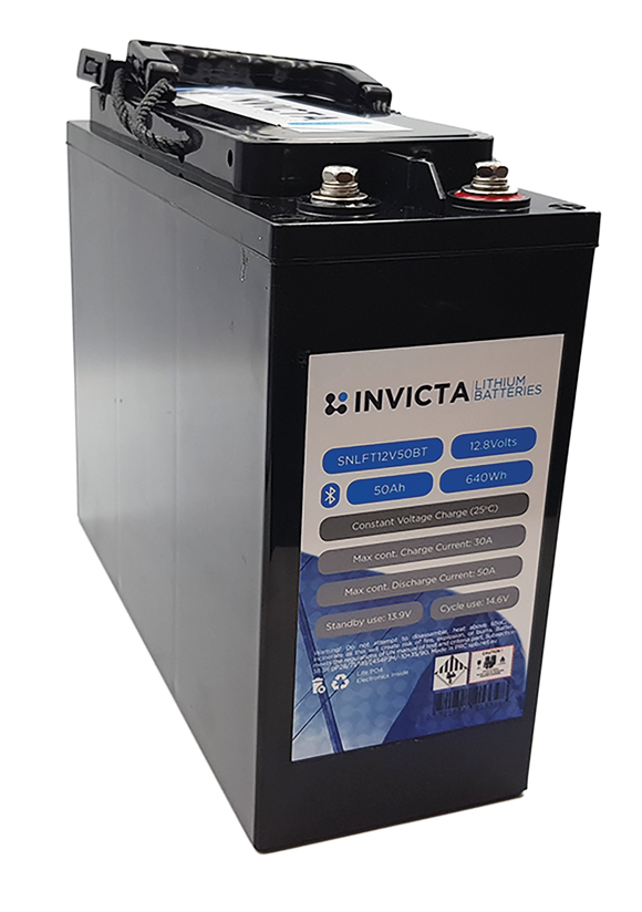 Invicta SNLFT12v50BT Slimline Lithium Deep Cycle Battery - Battery HQ Brisbane