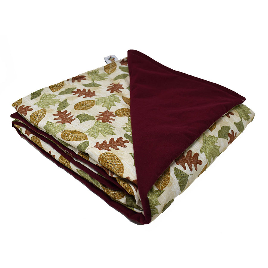 3LB Autumn Leaves-Burgundy Cotton and Flannel