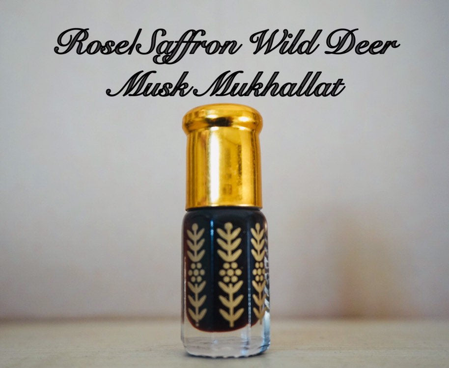 Rose/Saffron and Wild Deer Musk Mukhallat Handmade, Handmixed (musk, wild, perfume, oil, high quality natural fragrance natural mix)