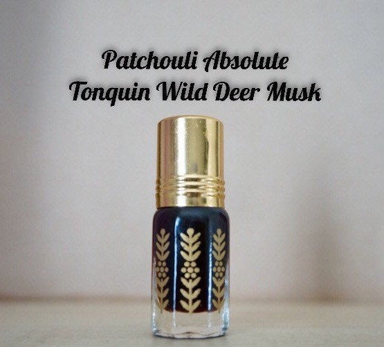 Patchouli Absolute Tonquin Wild Deer Musk Natural fragrance, Attar, perfume, scented, ethically harvested musk. Cruelty free perfume bottle