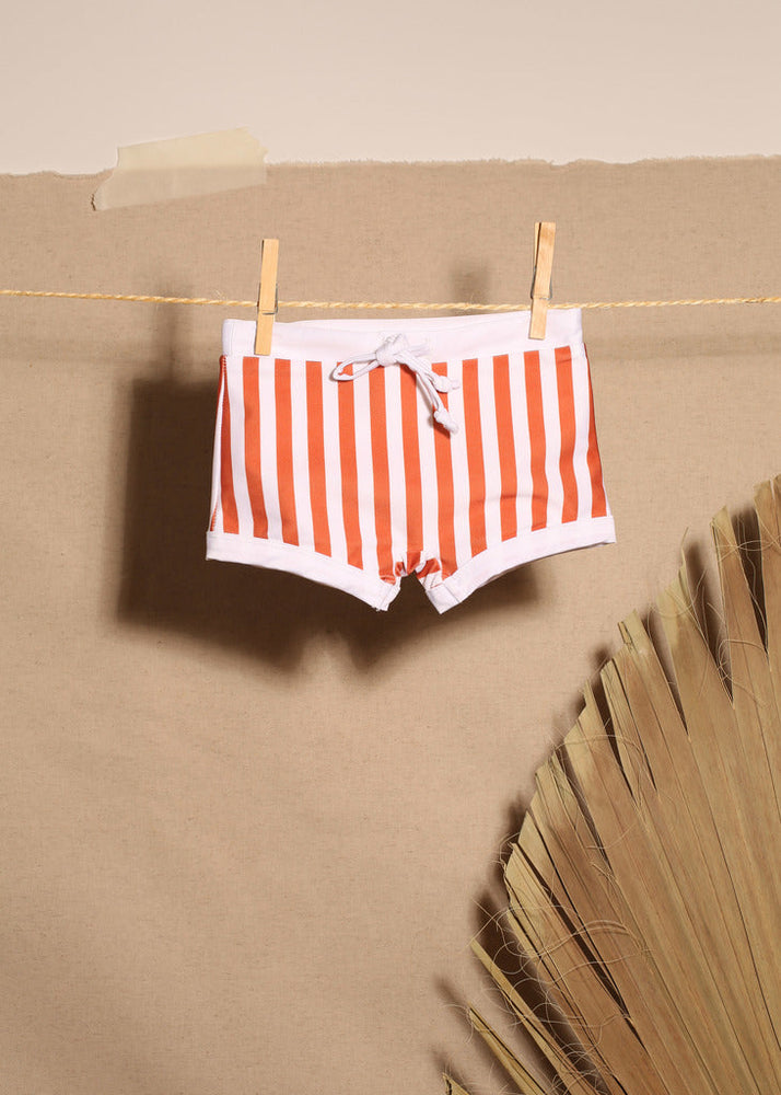 rusty and white stripe upf 50+ boxer anti uv sun safe swimwear
