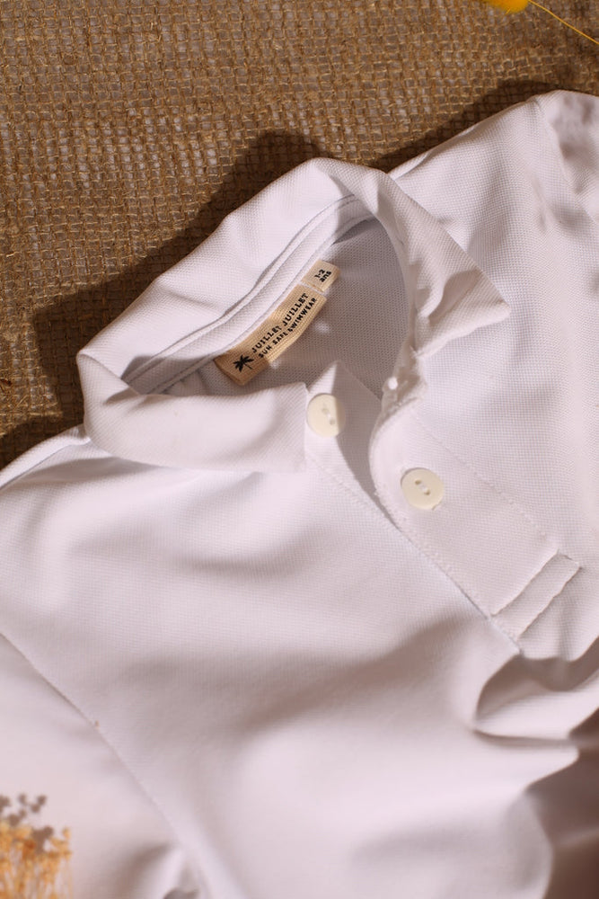Pampelonne Long sleeve Polo White UPF 50+