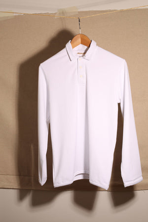 Grand Pampelonne Long sleeve Polo White UPF 50+
