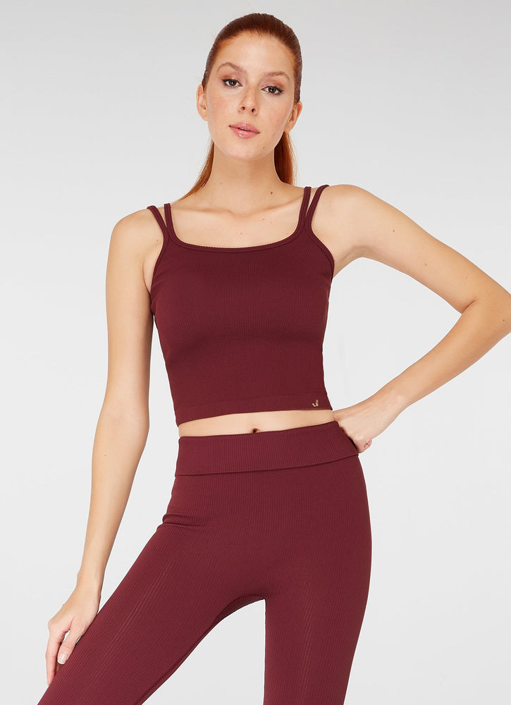 Jerf Darwin Double Strappy Crop Top Claret Red