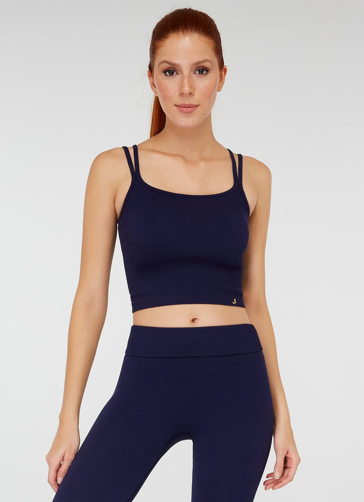 Jerf Darwin Double Strappy Crop Top Navy Blue