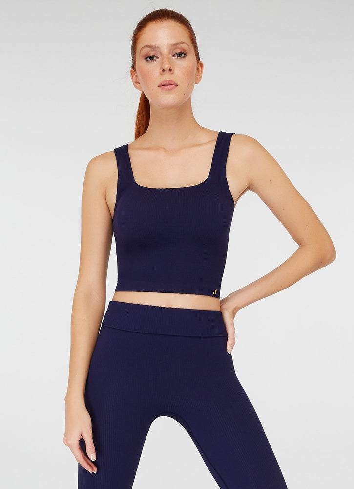 Jerf Darwin Wide Strap Crop Top Navy Blue