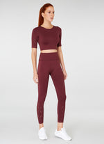 Jerf Naples Short -Sleeved Crop Top Econyl Maroon